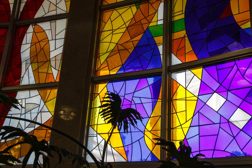 Stain Glass window created by artist in resident, Fritz Bultman.
