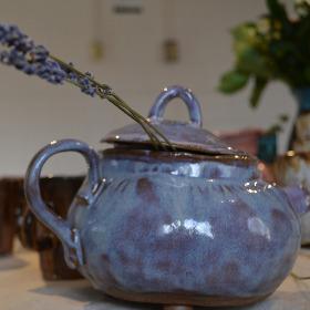 Blue ceramic teapot